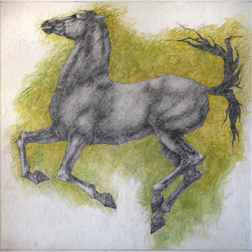 Horse - 180 x 182 cmm. Acrylic and graphite pencil on wood.
