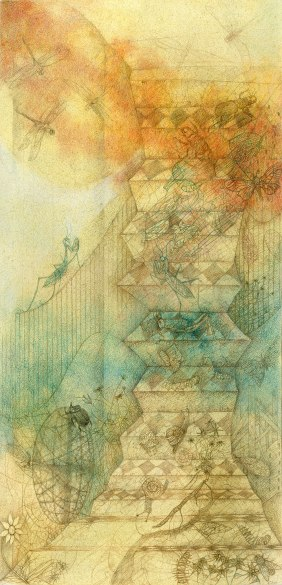 The Stairway - Watercolor and pencil on paper. 76 x 36 cm