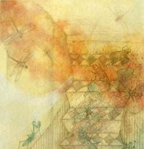 The Stairway - detail. Watercolor and pencil on paper. 76 x 36 cm