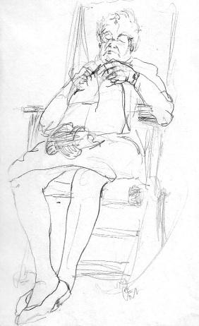 Grandmother Maruja knitting..