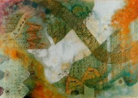 City. Watercolor and pencil om paper. Private collection.