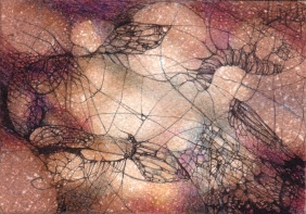 Insects. Watercolor, pencil and ink on paper.Private collection.