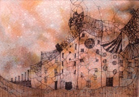 Small Village. Watercolor, pencil and ink on paper. Private collection.