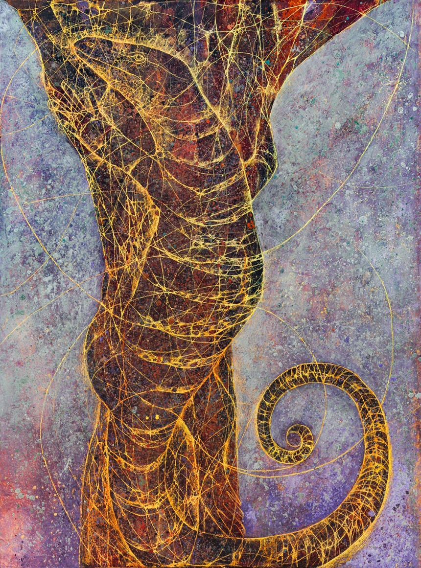 Goanna on a tree. Mixed media on paper. 70 x 50 cm.
